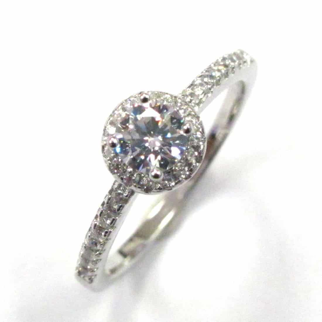 Sterling Silver 925 c/z Ladies  Halo Design Solitaire Ring