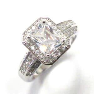 Sterling Silver 925 Halo Design Emerald Cut Cubic Zirconium Ring