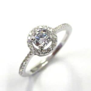 Sterling Silver 925 Halo Design Cubic Zirconium  Ladies Ring