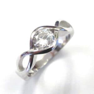 Sterling Silver 925 c/z Ladies  Infinity Style Cubic Zirconium Ring