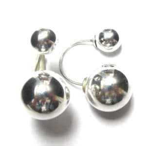 Sterling Silver 925 14mm Bar Bell Bubble Stud Earrings
