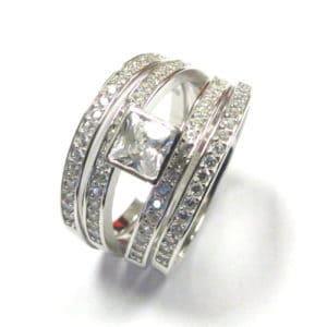 Sterling Silver 925 3Piece Millennium Square Cubic Wedding Set