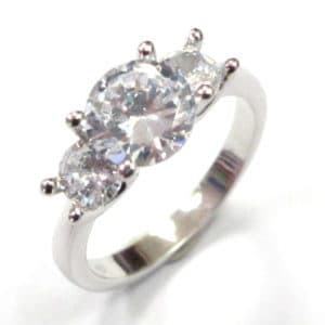 Sterling Silver 925 Ladies Triple Cubic Zirconium Claw Set Ring