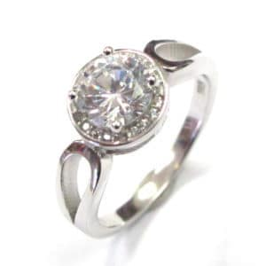 Sterling Silver 925 Big Tube Set Round Center Cubic Ladies Ring
