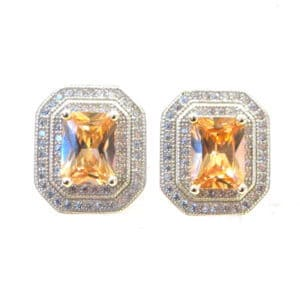 Sterling Silver 925 c/z Citrine Gem Stone Stud Earrings