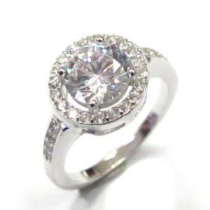 Sterling Silver 925 c/z Ladies Halo Design Ring