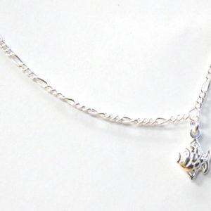 Sterling Silver 925 Figaro Link Anklet with Bubble Fish Charm