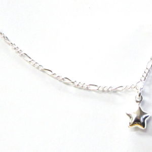 Sterling Silver 925  Figaro Anklet  with Star Charm