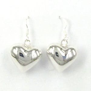 Sterling Silver 925 18mm Drop Heart Earrings