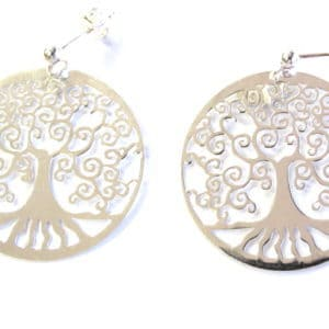 Sterling Silver 925  Tree Of Life Drop Earrings