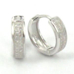Sterling Silver 925 c/z Huggie Hoop Earrings
