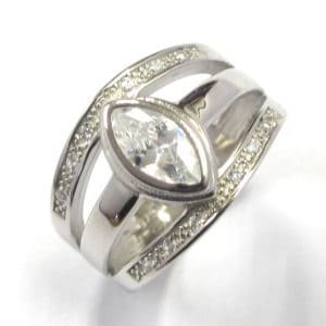 Sterling Silver 925 Wide Triple Band  Marques Shaped Cubic Zirconium