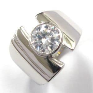 Sterling Silver 925  Wide Ladies Cubic Zirconium Dress Ring