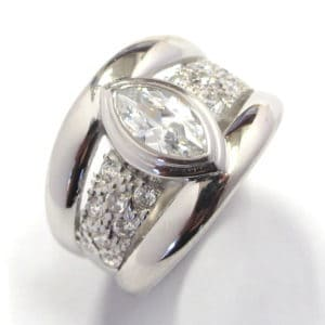Sterling Silver 925  Wide Triple BandMarques Shaped Cubic Ladies Ring