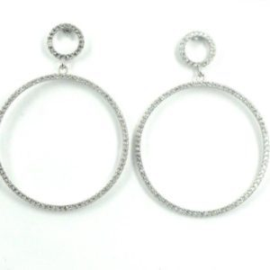 Sterling Silver 925 c/z Circle Drop Earrings
