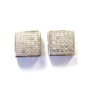 Sterling Silver 925 Square c/z Stud Earrings