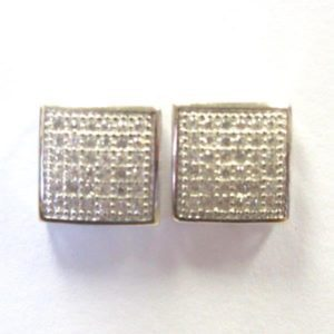 Sterling Silver 925  Square c/z Stud Earrings