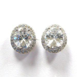 Sterling Silver 925 Oval c/z Stud Earrings