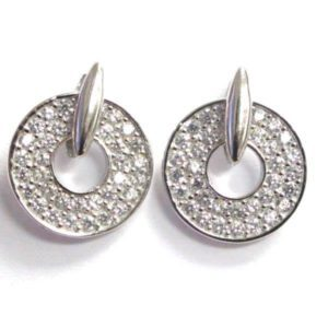 Sterling Silver 925 Cubic Encrusted Cut Out Circle Stud Earrings