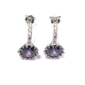 Sterling Silver 925 c/z Gem Drop Earrings in Assorted Colours