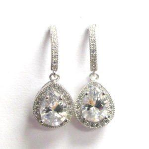 Sterling Silver 925 c/z Drop Earrings
