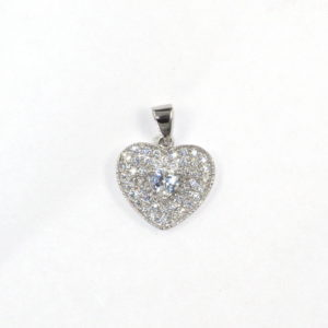 Sterling Silver 925 c/z Heart Charm/ Pendant