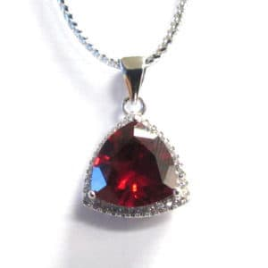 Sterling Silver 925 c/z & Trillion Gemstone Pendant