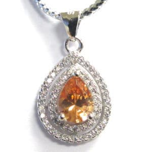 Sterling Silver 925 c/z & Gem Stone Pear Shaped Pendant