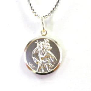 Sterling Silver 925 18mm Round St.Christopher Pendant