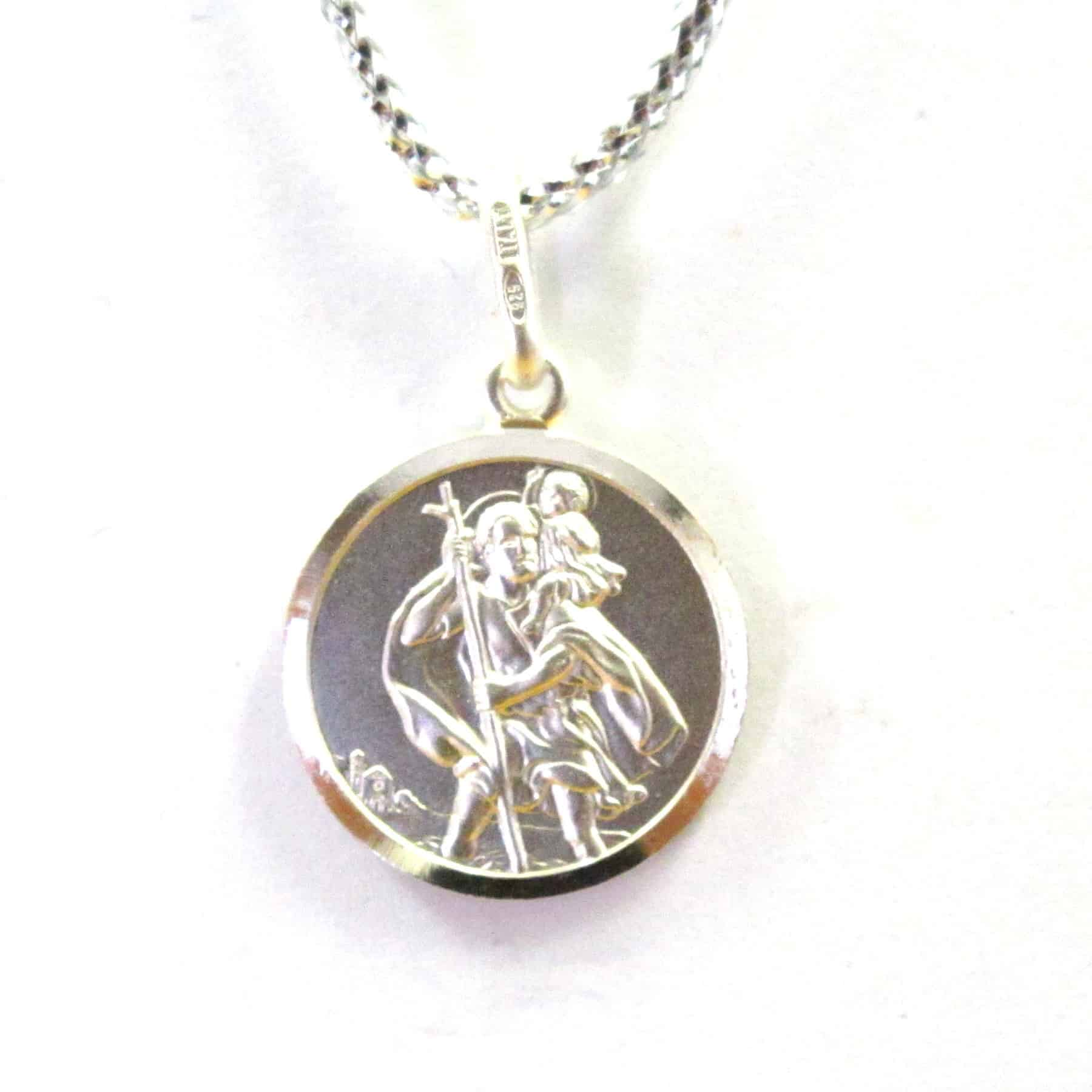 e96378402c1 Sterling Silver 925 18mm Round St.Christopher Pendant   Golden Touch ...