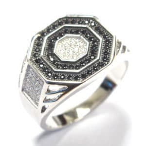 Sterling Silver 925 Black & White c/z Hexagon Top Gents Ring