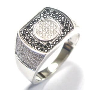 Sterling Silver 925 Black & White c/z Gents Ring