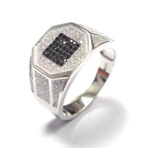 Sterling Silver 925 Black Square Cubic Encrusted Center + White c/z Gents Ring