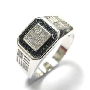 Sterling Silver 925 Black & White Square Top Cubic Encrusted Gents Ring