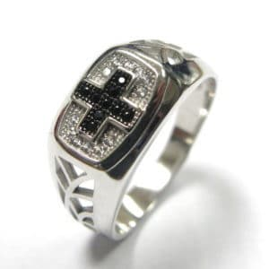 Sterling Silver 925 Black & White Cubic Encrusted Cross Gents Ring