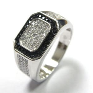 Sterling Silver 925 Black & White Rectangular Top Cubic Encrusted Gents Ring