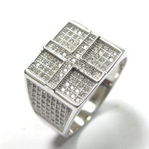 Sterling Silver 925 c/z Encrusted Gents Ring