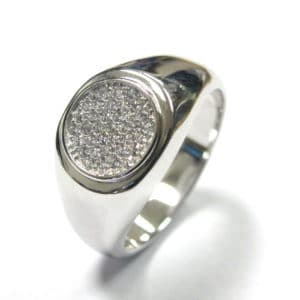 Sterling Silver 925 c/z Encrusted Gents Round Top Ring
