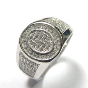 Sterling Silver 925 c/z Encrusted Gents Oval Ring