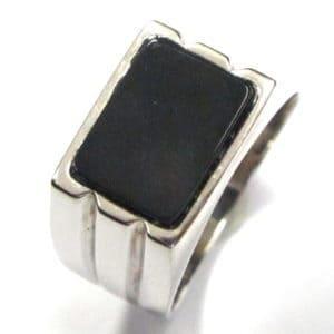 Sterling Silver 925 Black Gem Stone Gents Ring