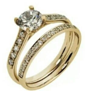 9ct 375 Yellow Gold 2 Piece c/z Solitaire Wedding Set+Pave set Band