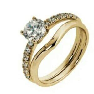 9ct 375 Yellow Gold c/z 2Piece Wedding Set
