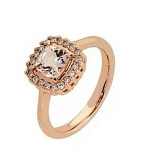 9ct 375 Rose Gold Square Cushion Cut Morganite & Diamond Ring