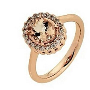 9ct 375 Rose Gold Oval Shaped Morganite & Diamond Ring