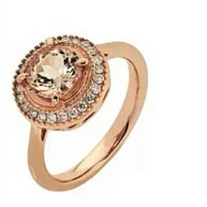 9ct 375 Rose Gold Round Morganite & Diamond Ring