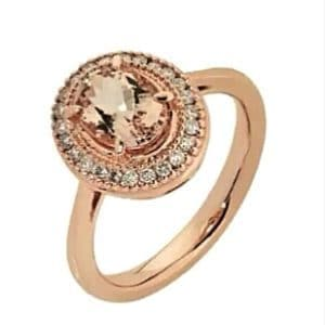 9ct 375 Rose Gold Oval Morganite & Diamond Ring