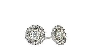 18ct 750 White Gold Diamond Cluster Stud Earrings TDW:0.25CT