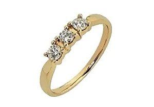 9ct 375 Yellow Gold 3 Stone Diamond Eternity Ring TDW:0.30ct
