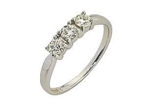 9ct 375 White Gold 3 Stone Diamond Eternity Ring TDW:0.20CT