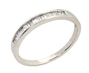 9ct 375 White Gold Channel Set Bagette Diamond Eternity Ring TDW:0.20ct